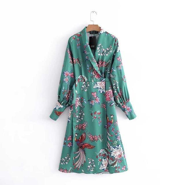 Clothing GREEN / S (US 2) Kimono Green floral knee length Dress (US 2-6)