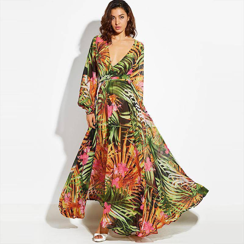 clothing Green / S (US 6-12) Tropical, Bohemian, Summer bahamas Chiffon Maxi Dress Robe (US 6 -16)