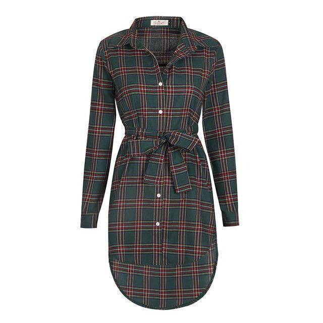 Clothing Green / S (US 6-8) Plaid Shirt / Mini Dresses Women Clothes (US 6-16)