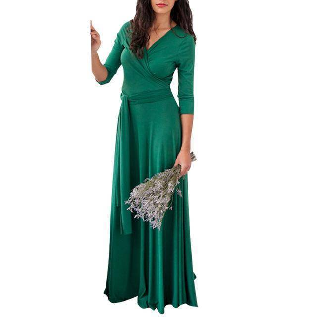 clothing Green / US 2 - 4 The Wonder Dress - Long Sleeve Design, Multi way, infinity convertible dreses,  Petite Sizes (US 2- 10)