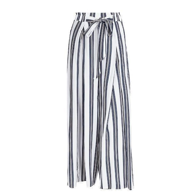 Clothing grey / S (US 2-4) High split stripe  high waist wide leg pants