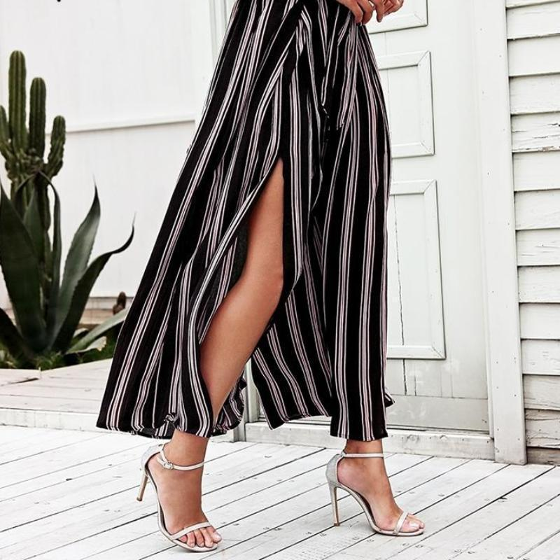 Clothing High split stripe  high waist wide leg pants