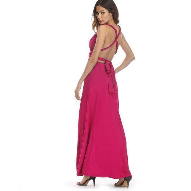 Clothing Hot Pink / S (US 8-10) Plus Size - Infinity Convertible Wonder Dress,  20 Colors Summer Maxi Party Dresses Multiway Swing Dress  Wrap Dress (US 8 - 18 W)
