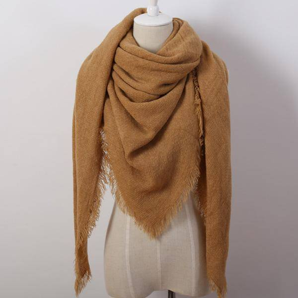 clothing khaki Oversize Solid Color Winter Square Scarf, XL Women Blankets,  Luxury Shawl 140cm x 140cm