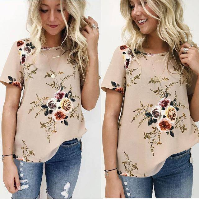 Clothing Khaki / S (US 6-8) Floral Short Sleeve Ladies Chiffon Loose Casual Tops Round Neck (US 6-16W)