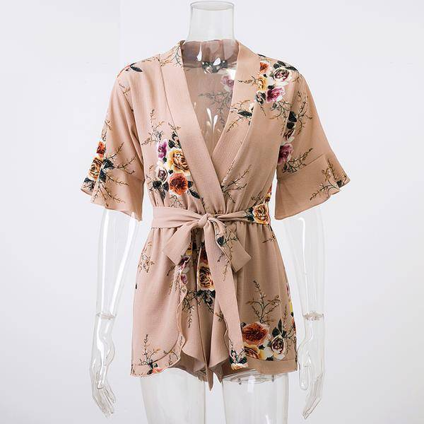 Clothing Khaki / S (US 8-10) Boho Floral Print Ruffles Playsuits V Neck Jumpsuits Rompers  (US 8-14)