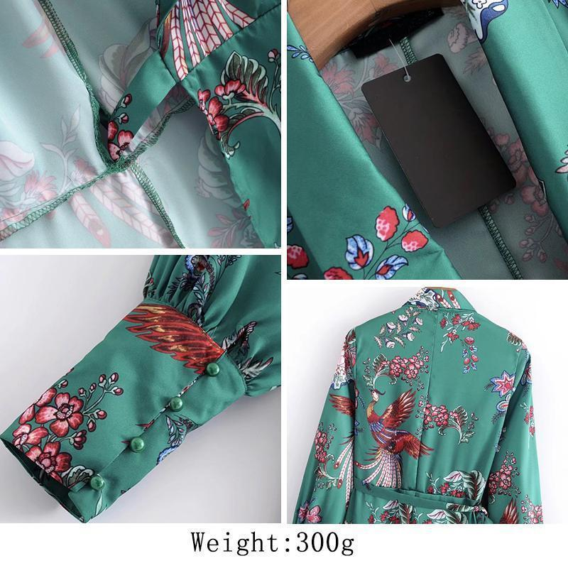 Clothing Kimono Green floral knee length Dress (US 2-6)