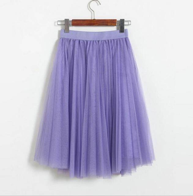 "clothing Lavender Fits 22"" - 41"" wasit - Three Layers, Tulle Elastic High waist Midi Skirt"