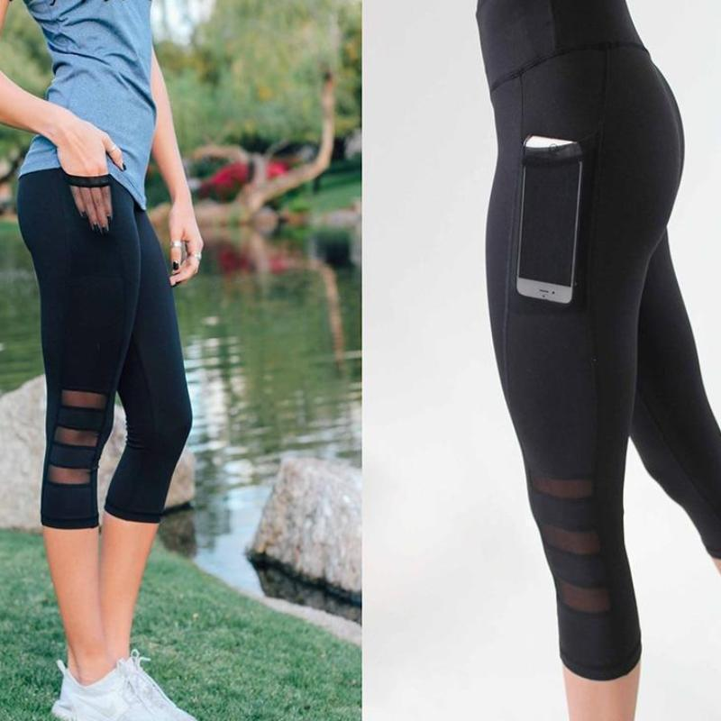 Clothing Leggings Women Mesh Stitchin Spring and summer Mid-Calf Work out Jegging Side pockets High Waist  Fitness Lady's Legging (US 6-14)