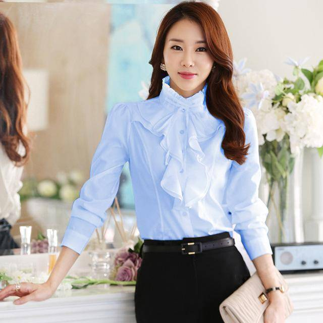 Clothing light Blue / S (US 2) Chiffon Ruffles Shirts  (US 2-18W)