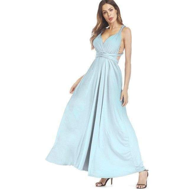 Clothing Light Blue / S (US 8-10) Plus Size - Infinity Convertible Wonder Dress,  20 Colors Summer Maxi Party Dresses Multiway Swing Dress  Wrap Dress (US 8 - 18 W)