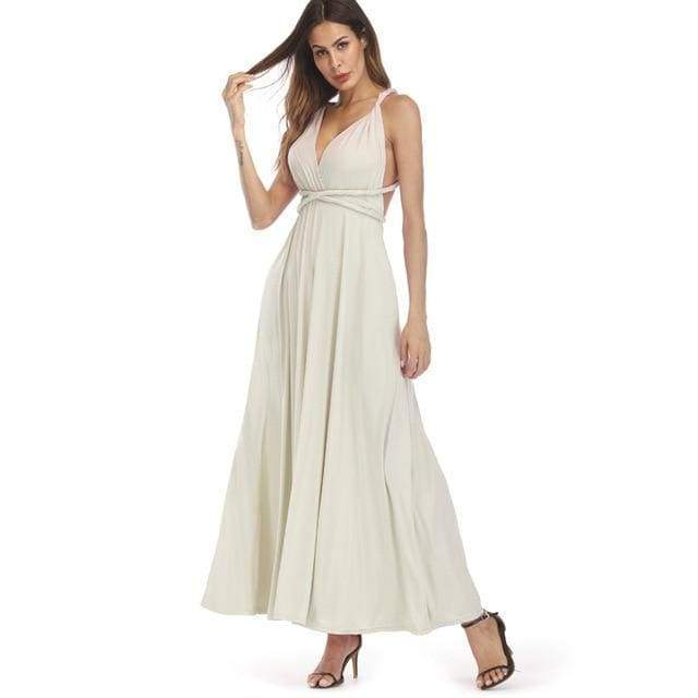 Clothing Light Gray / S (US 8-10) Plus Size - Infinity Convertible Wonder Dress,  20 Colors Summer Maxi Party Dresses Multiway Swing Dress  Wrap Dress (US 8 - 18 W)