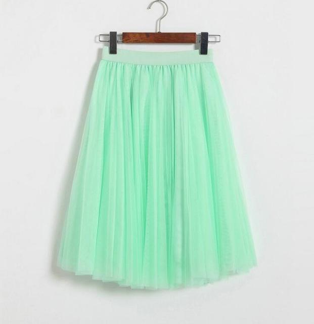 "clothing Light Green Fits 22"" - 41"" wasit - Three Layers, Tulle Elastic High waist Midi Skirt"