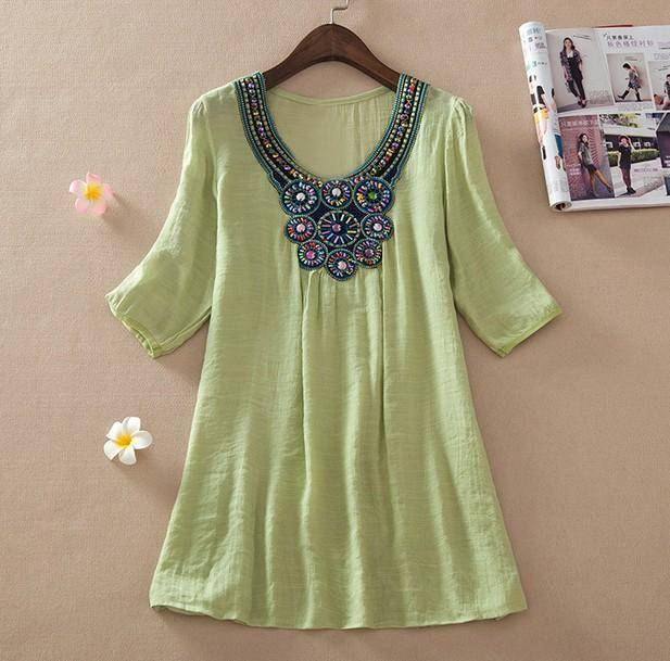 clothing light green / L (US 16-18) Plus Size - Floral Embroidery Loose Blouse (US 16-24)