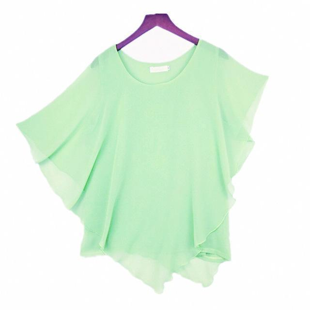Clothing Light Green / S (US 6-8) Plus Size - 16 Color Plus size Ladies Chiffon Blouses ,Batwing sleeve tops shirts women asymmetric shirts (US 6-24W)