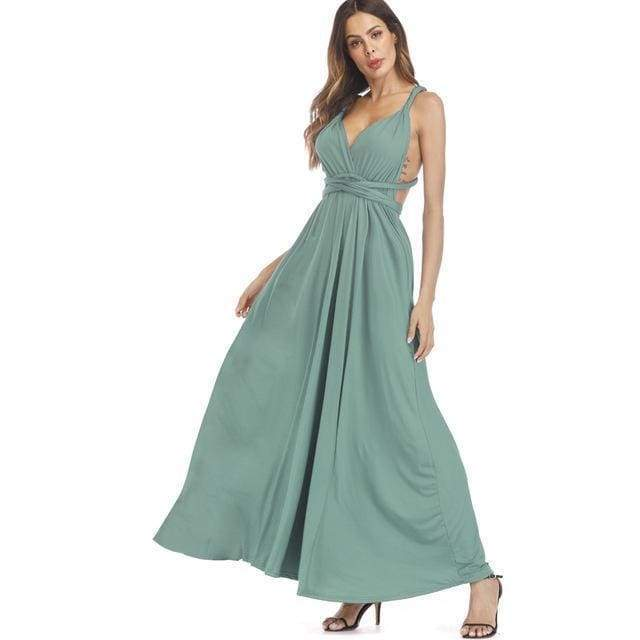 Clothing Light Green / S (US 8-10) Plus Size - Infinity Convertible Wonder Dress,  20 Colors Summer Maxi Party Dresses Multiway Swing Dress  Wrap Dress (US 8 - 18 W)