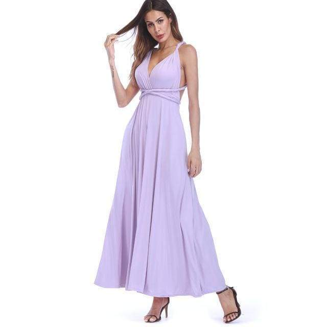 Clothing Light Purple / S (US 8-10) Plus Size - Infinity Convertible Wonder Dress,  20 Colors Summer Maxi Party Dresses Multiway Swing Dress  Wrap Dress (US 8 - 18 W)