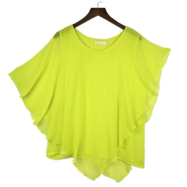Clothing Light Yellow / S (US 6-8) Plus Size - 16 Color Plus size Ladies Chiffon Blouses ,Batwing sleeve tops shirts women asymmetric shirts (US 6-24W)