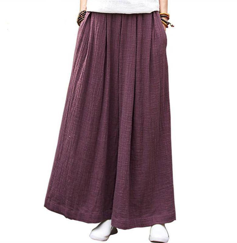 Clothing Loose Wide  Elastic Waist Cotton linen Trousers (US 2-18W)
