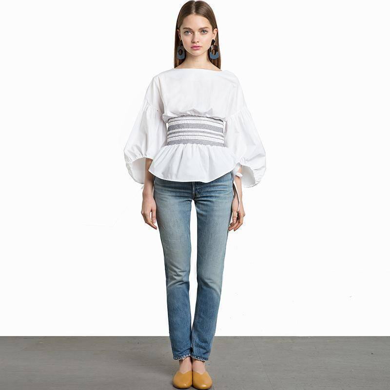 Clothing M (US 12-14) White lantern Sleeve Shirt (US 10-18W)
