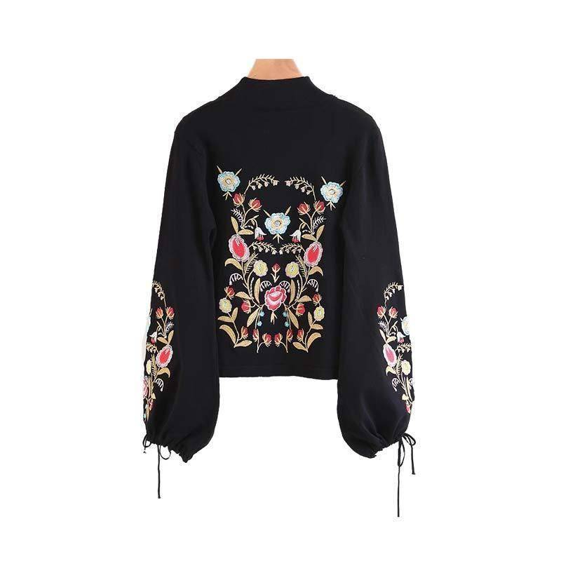 Clothing M (US 4-6) Floral embroidery bow tie sleeve black pullover (US 2-8)