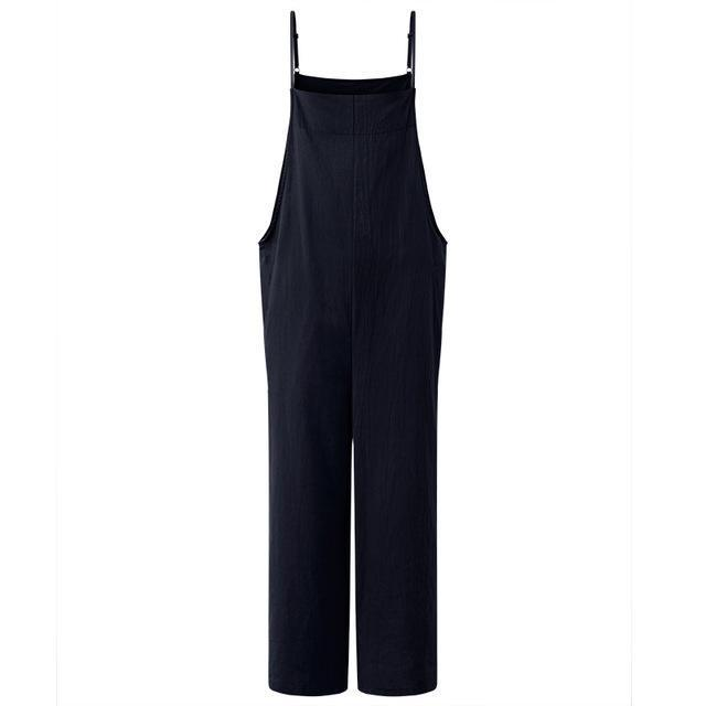 Clothing Navy / L (US 16W-18W) Summer ZANZEA Women Cotton Linen Wide Leg Romper Casual Strappy Sleeveless Loose Long Jumpsuit Dungaree Party Overalls (US 16W-28W)