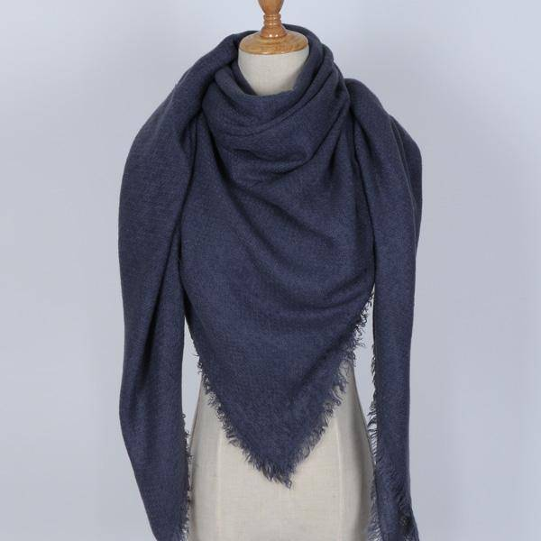 clothing navy Oversize Solid Color Winter Square Scarf, XL Women Blankets,  Luxury Shawl 140cm x 140cm