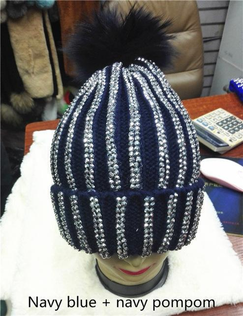 Clothing navy with navy pom Removable Winter Warm Fur Pom pom Knitted bling Hats,  Skullies Beanie With 15cm Fur Ball