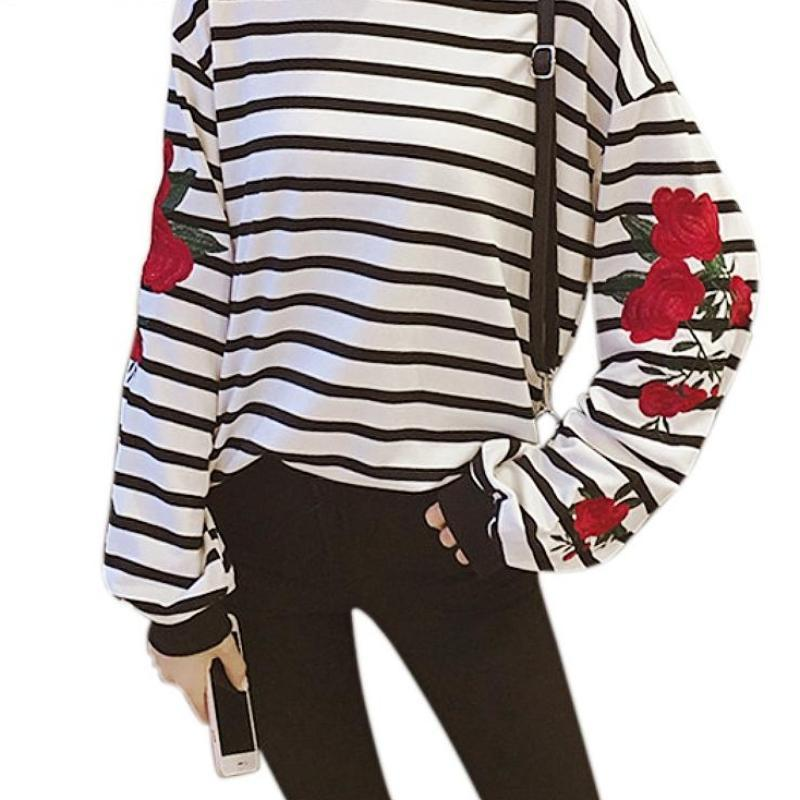Clothing New Autumn Harajuku Hoodies Roses Embroidered Lantern Sleeve Loose Striped Women Sweatshirt Vintage Elegant Casual Tops (US 14-16)