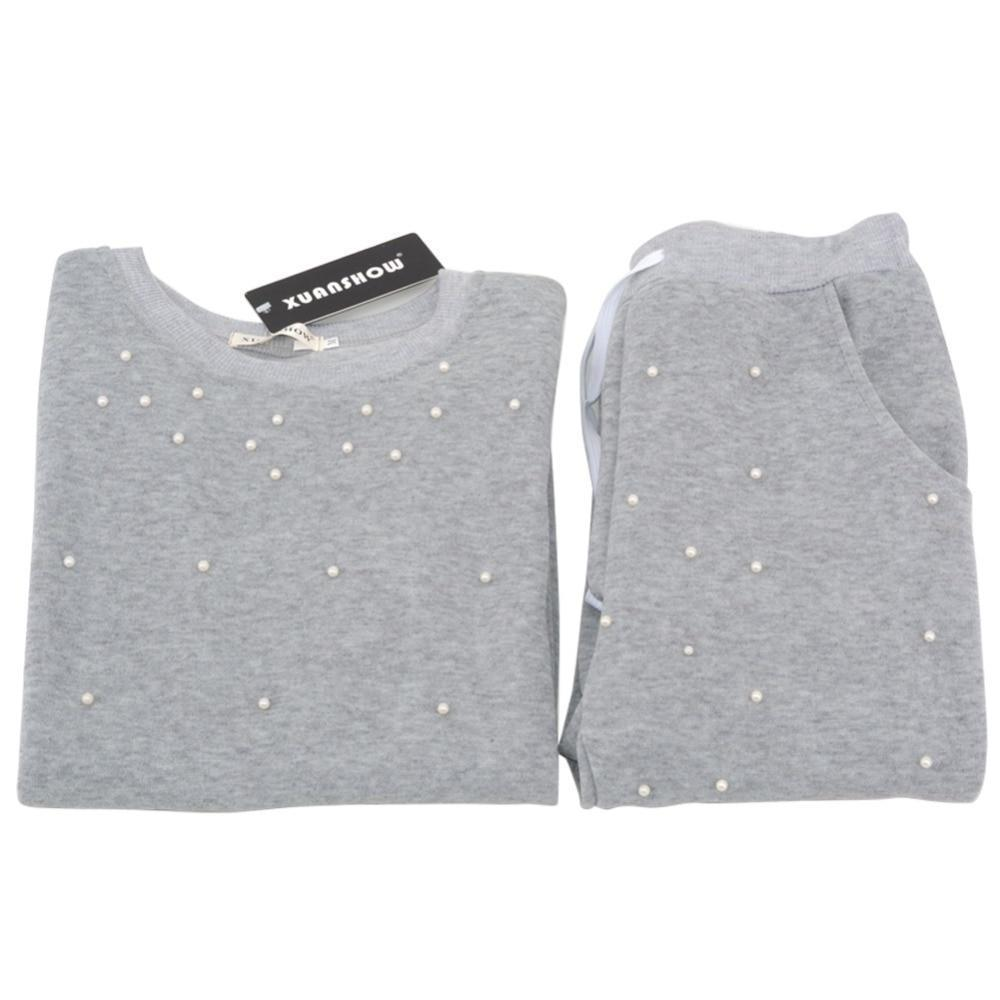 Clothing New Fashion Long Sleeve Pearl Beading Women's Tracksuits O-Neck Sweatshirt + Long Pants 2 Piece Women Set (US 6-16)