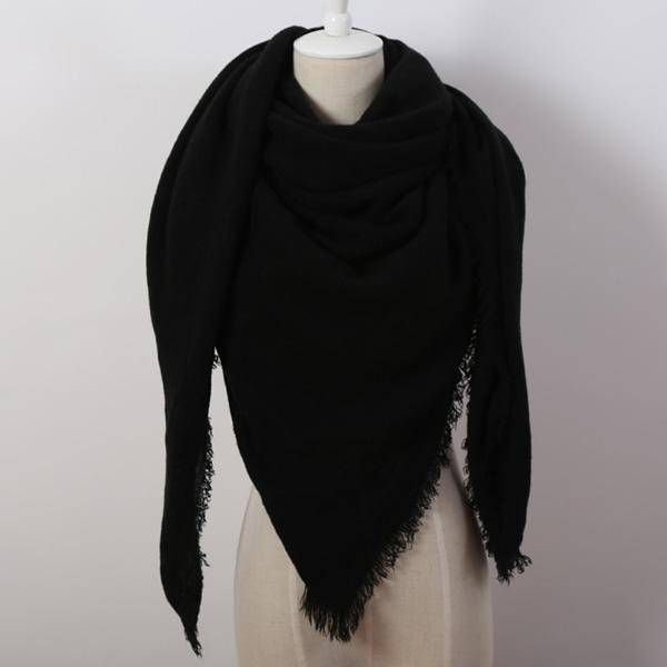 clothing Oversize Solid Color Winter Square Scarf, XL Women Blankets,  Luxury Shawl 140cm x 140cm