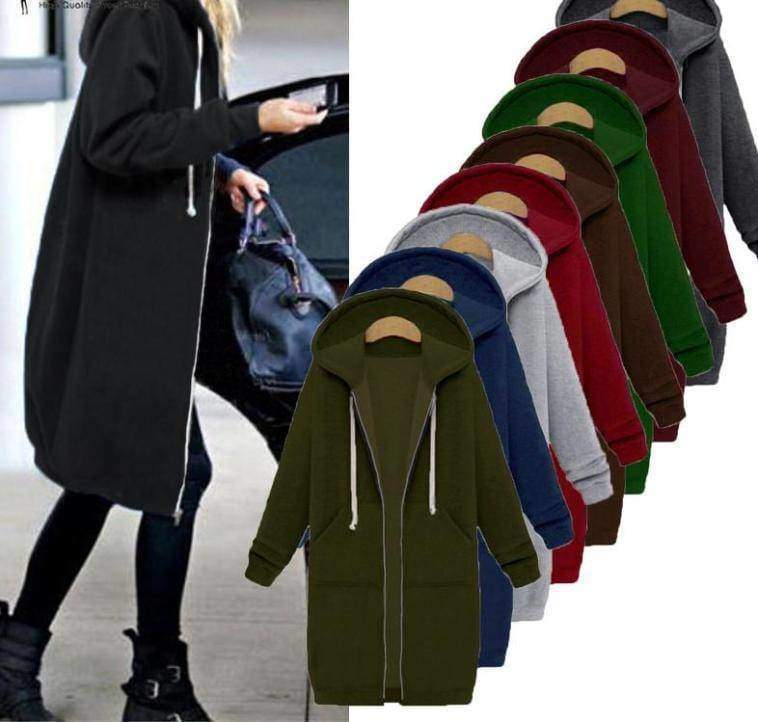 clothing Oversized S-5XL Long Hoodies Coat with Pockets