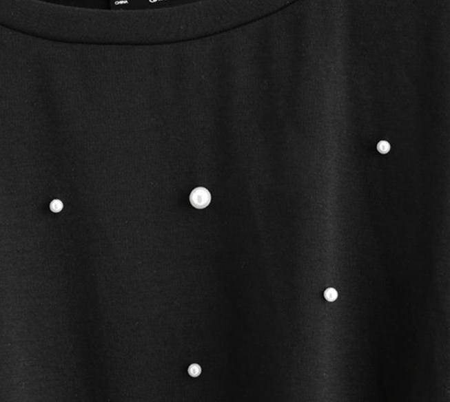 clothing Pearl Beaded black Tshirt with knot