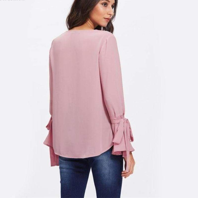Clothing Pearl Bow Tied Flounce Sleeve Blouse Pink Round Neck Ruffle Woman Top Long Sleeve Blouse