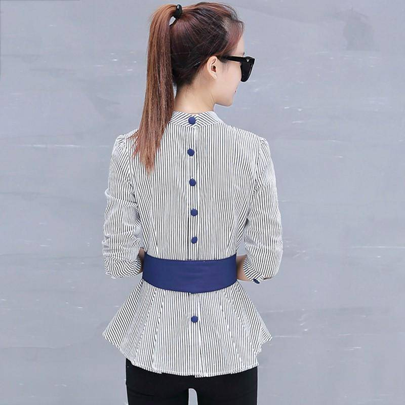 Clothing Peplum Striped Blouses with Bow Long Sleeve Shirts  (US 4-12)