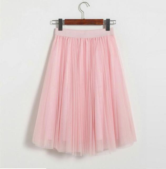 "clothing Pink Fits 22"" - 41"" wasit - Three Layers, Tulle Elastic High waist Midi Skirt"
