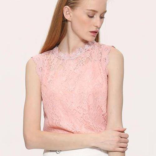 Clothing pink / M (US 14-16) Plus Size - Sleeveless Hollow Out Lace Top (US 12-22)