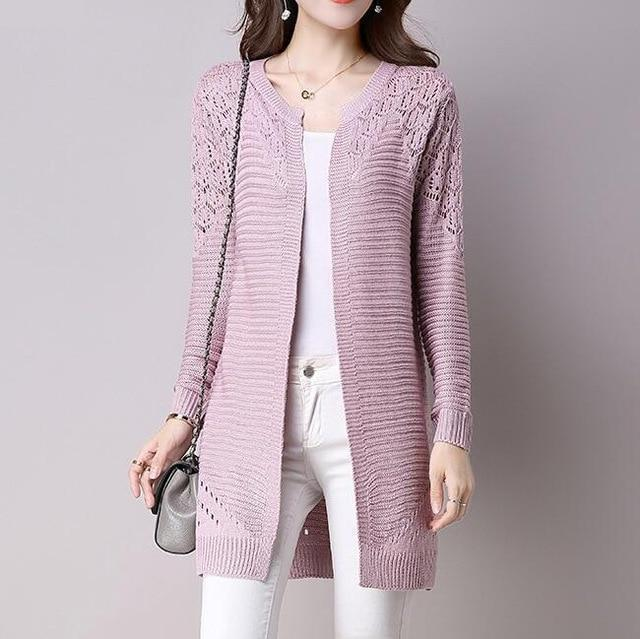 Clothing Pink / M (US 2-4) Fall Women Cardigan Solid Color Hollow Out Sweaters Size S-XXL Poncho Full Sleeve Open Stitch Female Knitted Outerwear (US 2-12)