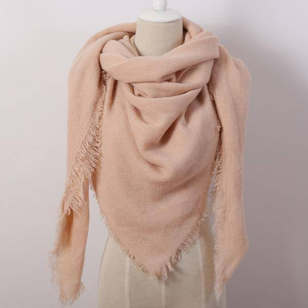 clothing pink Oversize Solid Color Winter Square Scarf, XL Women Blankets,  Luxury Shawl 140cm x 140cm