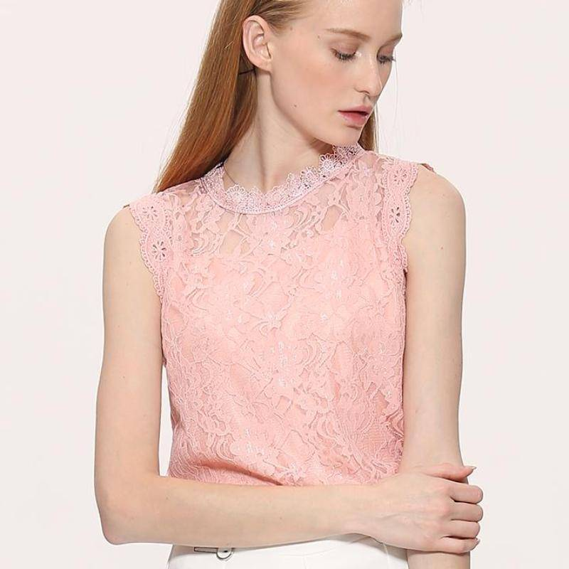 Clothing pink / S (US 12-14) Plus Size - Sleeveless Hollow Out Lace Top (US 12-22)