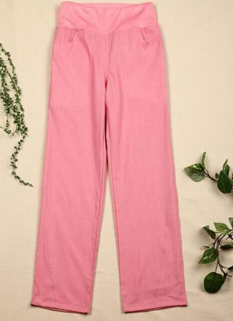 "Clothing pink / S (US 29) Elastic waist women  Linen pants, wide leg pants casual pants top straight pants loose trousers ( Up to 31"" waist)"