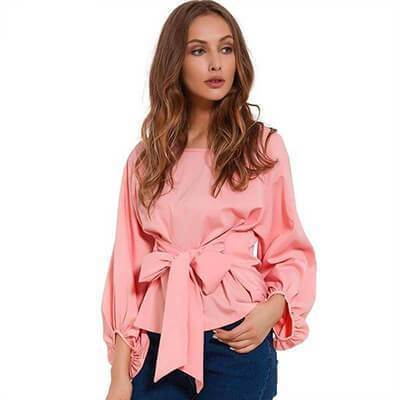 clothing Pink / S (US 4-6) Chiffon Wrap Blouse Women Shirts  Lantern Long Sleeve (US 4-12)