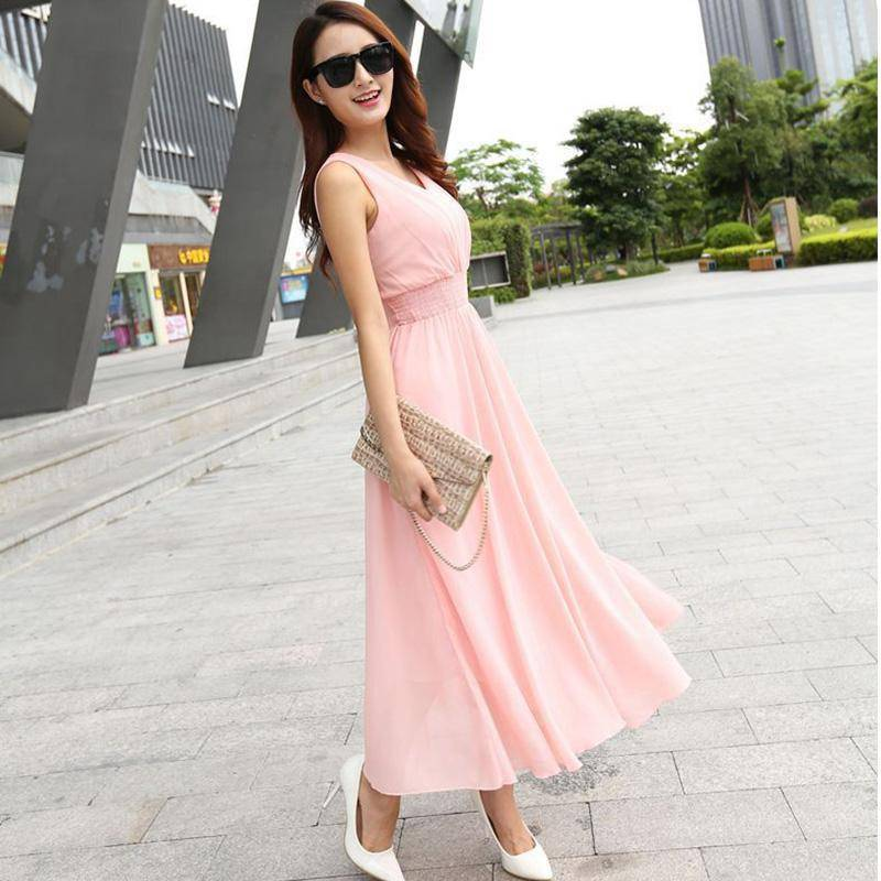 Clothing Pink / S (US 6) Bohemian Dress Slim Sleeveless Beach V-Neck 6 Color Cute Style (US 6-12)