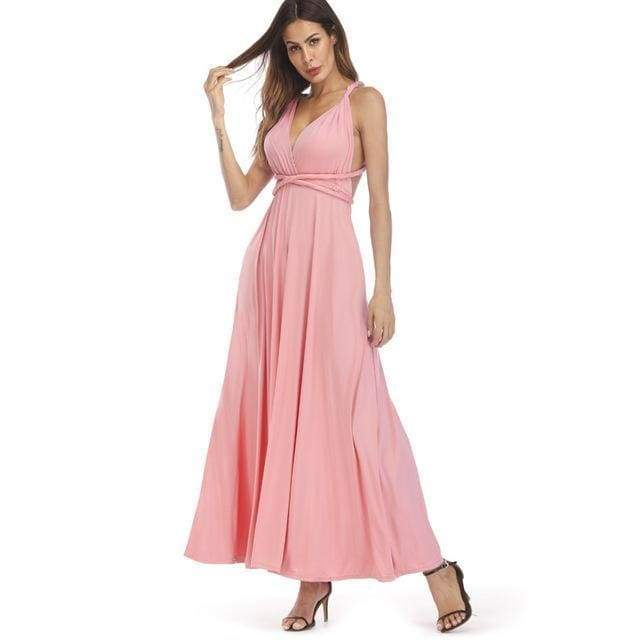 Clothing Pink / S (US 8-10) Plus Size - Infinity Convertible Wonder Dress,  20 Colors Summer Maxi Party Dresses Multiway Swing Dress  Wrap Dress (US 8 - 18 W)