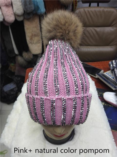 Clothing pink with natural Removable Winter Warm Fur Pom pom Knitted bling Hats,  Skullies Beanie With 15cm Fur Ball