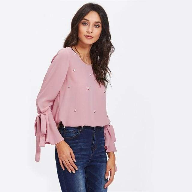 Clothing Pink / XS (US 8-10) Pearl Bow Tied Flounce Sleeve Blouse Pink Round Neck Ruffle Woman Top Long Sleeve Blouse