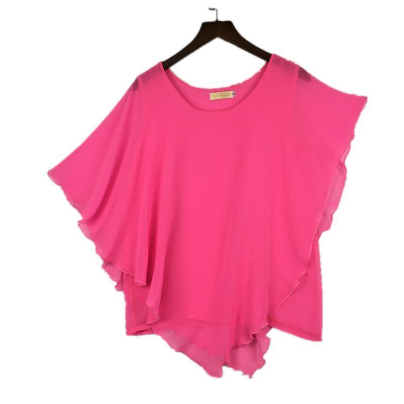 Clothing Plus Size - 16 Color Plus size Ladies Chiffon Blouses ,Batwing sleeve tops shirts women asymmetric shirts (US 6-24W)