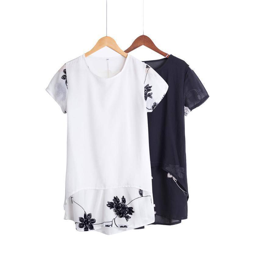 Clothing Plus Size - Chiffon Blouse Loose Short Sleeve Embroidery Flower Print Patchwork (US 8-22W)