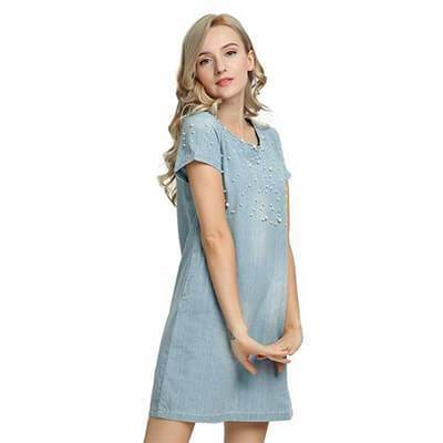 Clothing Plus Size - Denim Jeans Pearl Beaded Casual O Neck Long Shirt / Mini Dresses (US 4 - 22W)