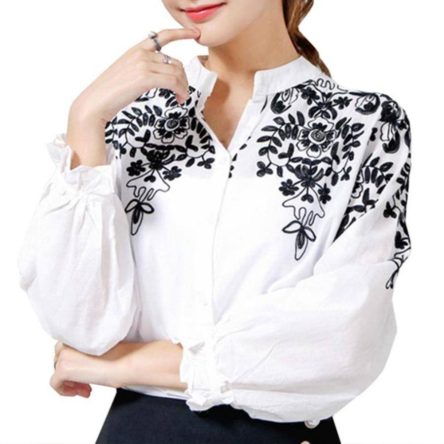 Clothing Plus Size - Embroidery Blouse Shirt Cotton Linen (US 8-20)